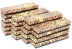 Lot Of 100 Leopard Cotton Filled Box Jewelry Gift Boxes Bracelet Box 8 X 2 x 1