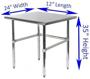 Stainless Steel Work Table With Open Base 24 X 12 Food Prep Nsf