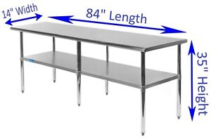Stainless Steel Work Table 14 X 84 Food Prep Nsf Utility Work Station