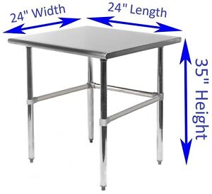 Stainless Steel Work Table With Open Base 24 X 24 Food Prep Nsf
