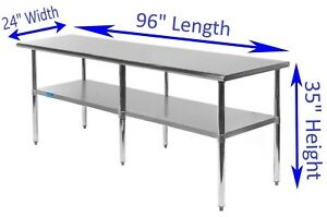 Stainless Steel Work Table 24 X 96 Food Prep Nsf Utility Work Station