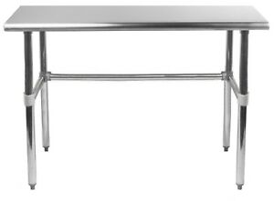 Stainless Steel Work Table With Open Base 24 X 36 Food Prep Nsf