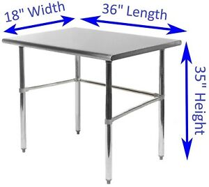 Stainless Steel Work Table 18 X 36 Food Prep Nsf Utility Work Station