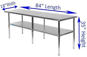 Stainless Steel Work Table 18 X 84 Food Prep Nsf Utility Work Station