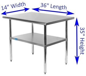 Stainless Steel Work Table 14 X 36 Food Prep Nsf Utility Work Station