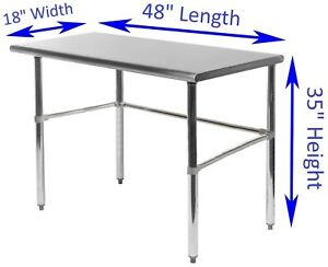 Stainless Steel Work Table With Open Base 18 X 48 Food Prep Station Nsf