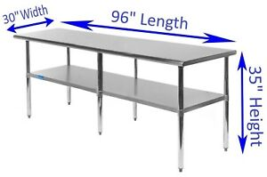 Stainless Steel Work Table 30 X 96 Food Prep Nsf Utility Work Station