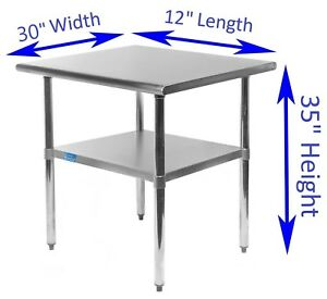 Stainless Steel Work Table 30 X 12 Food Prep Nsf Utility Work Station