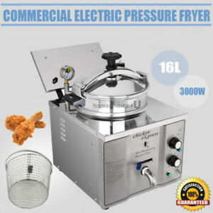 16l Pressure Fryer Stainless Countertop Temperature Control Chicken Fish Veg