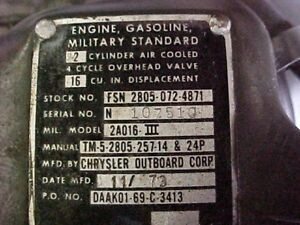 Military Generator Chrysler Outboard Corp