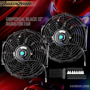 2pcs 12 Universal Slim Pull Push Racing Electric Radiator Engine Cooling Fan