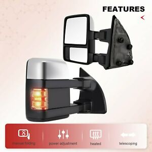 For 99 07 Ford Super Duty Side Mirrors Power Tow Heated Signal Light Chrome Pair