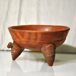 Pre Columbian Tripod Rattle Bowl With Anthropomorphic Head Costa Rica 1100 A D
