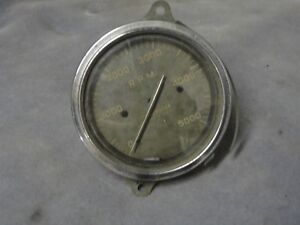 Vintage Auto Meter 5000 Rpm Tachometer Hot Rod Curved Glass 1940 S 1950 S Rare