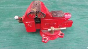 Vintage Table Bench Vise 3 1 2 Jaws Machinist Signed Fuller Swivel Base