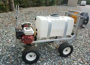 Sprayer Commercial Trailer Mounted 50 Gallon Tank Electric Reel 400 Hose