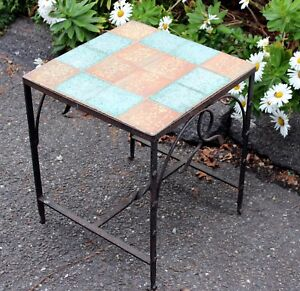 Antique California Wrought Iron Tile Table Arts Crafts Pottery