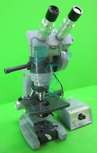 American Optical 1036a Dual Head Microscope With 2x 10x 43x 100x Objectives