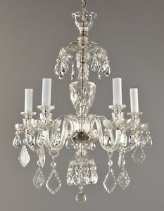 Czech Crystal Chandelier C1930 Vintage Antique Restored Glass Ceiling Light