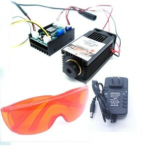 Focusable High Power 450nm 3500mw Blue Laser Module carving burning Gift Goggles