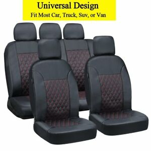 Universal Black Pu Leather Car Seat Covers Full Set Fits Most Car Truck Suv Van