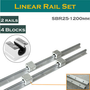 Linear Rail Bearing 2set Sbr25 1200mm With 4 Sbr25uu Fully Supported Shaft Rod