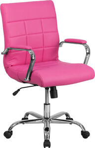 Quilted Vinyl Swivel Tilt Home Office Desk Dorm Task Pink Purple Chairs 5 Colors