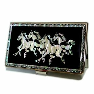 Mother Of Pearl Horse Design Business Credit Card Holder Wallet New