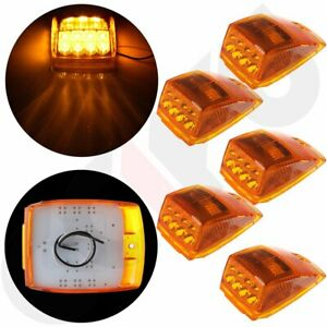 5x Cab Marker Roof Running Amber 17led Lights W reflector For Kenworth Peterbilt