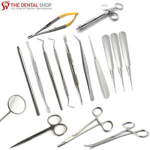New Dental Oral Care Surgery Kit Periosteal Elevators Cotton Pliers Lab Tools Ce