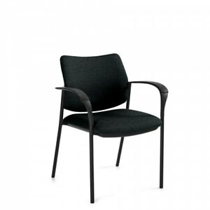 Lot Of 8 Global Sidero 6900 Black Fabric Stacking Chair With Arms