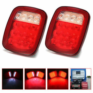 4x Red white Truck Trailer Boat For Jeep Stop Turn Tail Back Up 16 Led Light