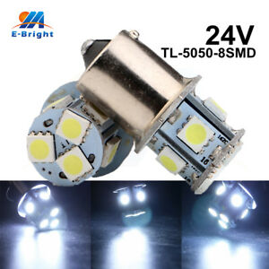 10pcs 24v Dc 1156 Ba15s 5050 8 Smd Led Bulbs Turn Signal Reverse Lights White