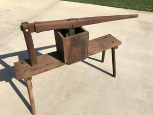 Antique Wood Fruit lard Press 19th C Floor Model