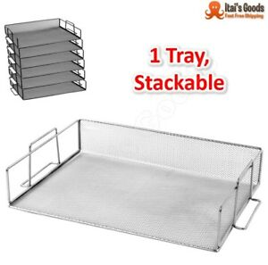 Single Stainless Steel Tray Stackable Paper Letter Office Desk Organizer Storage