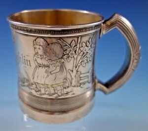 Whiting Sterling Silver Baby Child S Cup Mug Brite Cut Acid Etched Children 1883