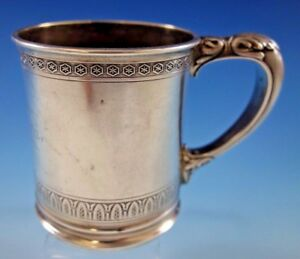 Whiting Sterling Silver Baby Child S Cup Mug With Leaf And Star Border 328