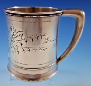 Whiting Sterling Silver Baby Child S Cup Mug Brite Cut Bleeding Hearts 151j