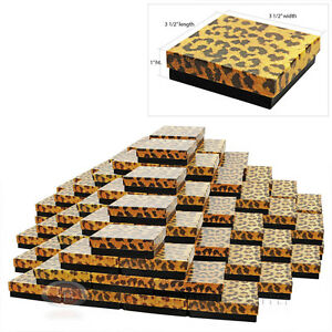 100 Leopard Cotton Filled Gift Boxes 3 1 2 X 3 1 2