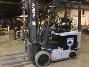 2012 Nissan 4000 Lb Electric Forklift With Side Shift And Triple Mast