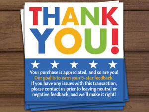 1000 Thank You Purchase Is Appreciated 5 Star Shipping Labels Stickers 2x2