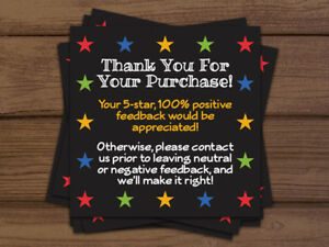 1000 Ebay Thank You For Your Purchase 5 Star Shipping Labels Stickers 2x2 Black