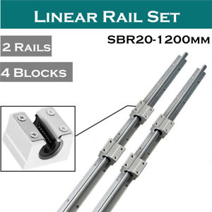4 Sbr20uu Slide Block Bearing Fully Supported 2pcs Sbr20 1200mm Linear Rail