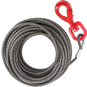 3 8 X 100 Steel Core Winch Cable Self Locking Swivel Hook Wire Rope Hoist
