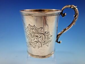 Tifft Whiting Coin Silver Baby Child S Cup Mug B C Scroll Work Dated 1 18 52