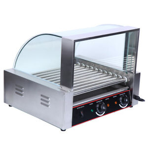 Commercial Hot Dog Machine 11 Roller 30 Hotdog Grill Cooker Warmer W Cover