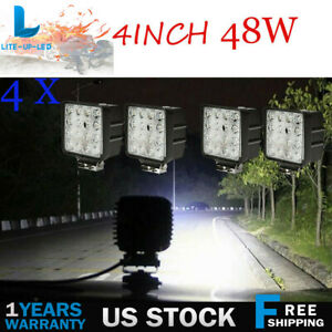 4x4inch 48w Cree Led Work Lights Flood Square Pods Offroad Suv Truck Boat Jeep