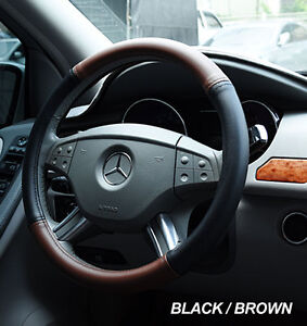 Iggee Black Brown S Leather Premium High Quality Steering Wheel Cover 14 5