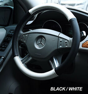 Iggee Black White S Leather Premium High Quality Steering Wheel Cover 14 5