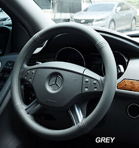 Iggee Grey S leather Premium High Quality Steering Wheel Cover 14 5